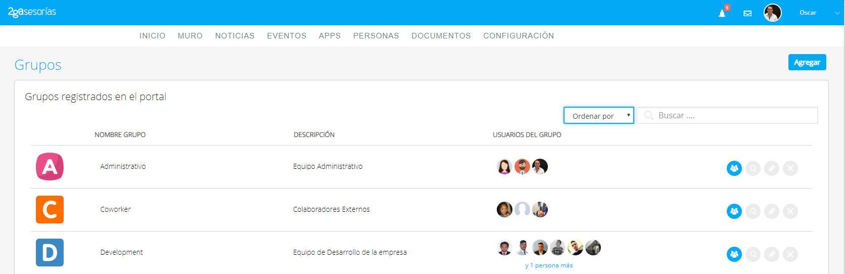 Portales empresariales - grupos de usuarios